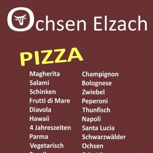 Speisekarte Pizza Ochsen Elzach